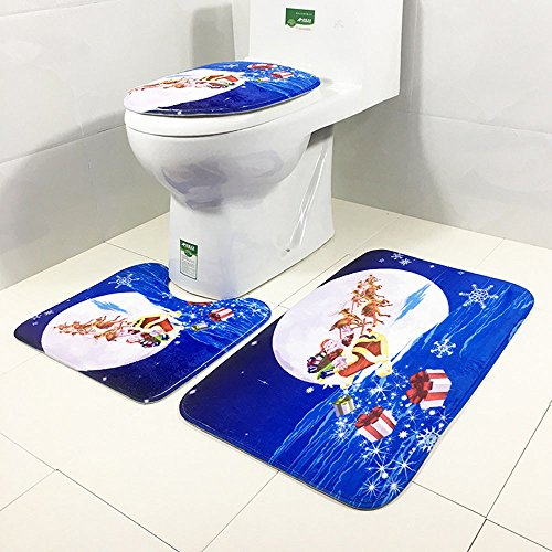 (Christmas Snowman Non-Slip Blue Ocean Style Pedestal Rug+Lid Toilet Cover + Bath Mat(3943cm/4040cm/6040cm,Blue))