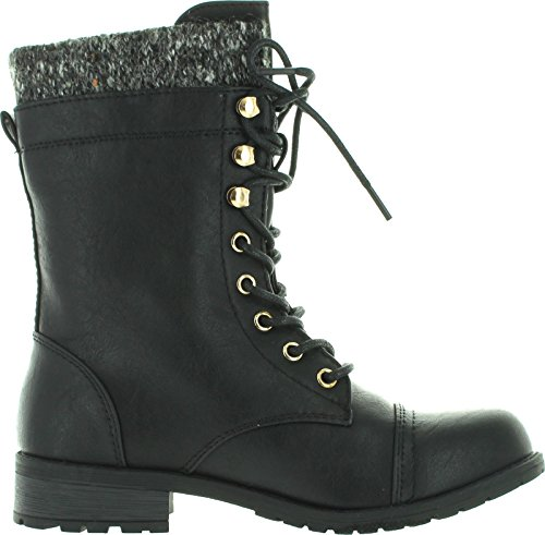 Forever Link Womens Mango-31 Round Toe Military Lace Up Knit Ankle Cuff Low Heel Combat Boots - stylishcombatboots.com