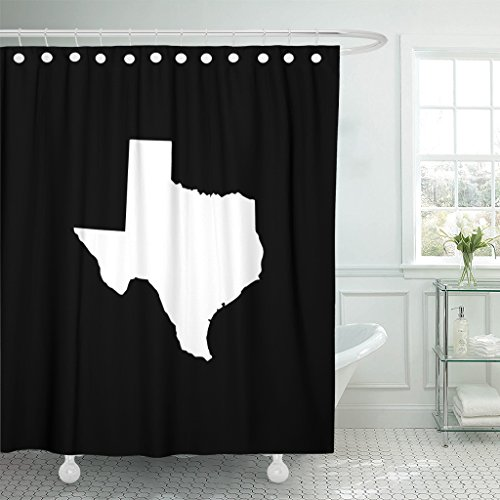 TOMPOP Shower Curtain State Texas Map in Withe on White Abstract America Waterproof Polyester Fabric 72 x 72 Inches Set with Hooks by TOMPOP