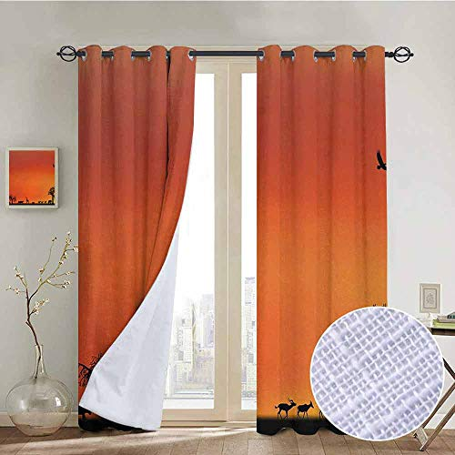 "NUOMANAN Living Room Curtains Africa,Panorama of Safari Animals Gulls Reflections in Background at Sunset Scenery,Burnt Orange Black,Adjustable Tie Up Shade Rod Pocket Curtain 100""x96"""