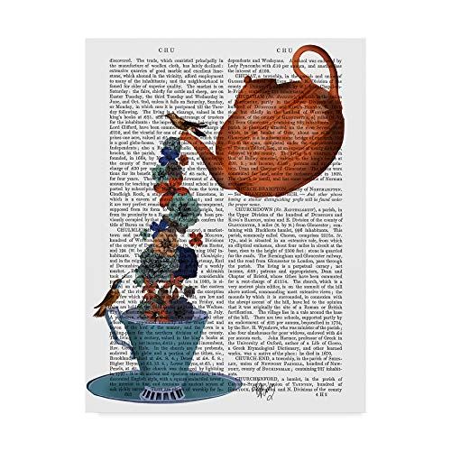 Trademark Fine Art Teapot, Cup and Flowers, Orange and Blue