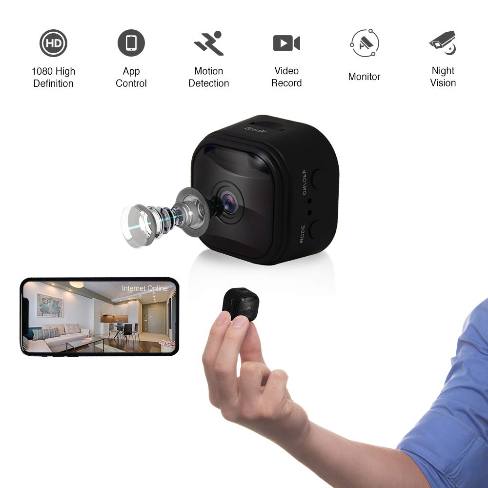 WiFi Mini Hidden Camera Spy Camera with App, 1080P HD, 150 Wide-Angle Lens, Video Camera, Square Round, Covert Nanny Cam, Motion Detection, Night Vision, Security Surveillance Cameras Black,2019