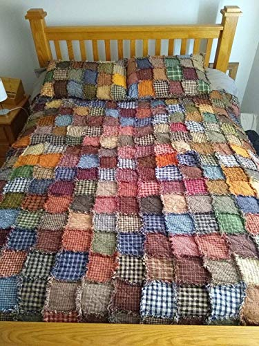 King size Patchwork Rag Quilt, Primitive Homespun fabric, Made to Order, Reversible, Shams NOT included