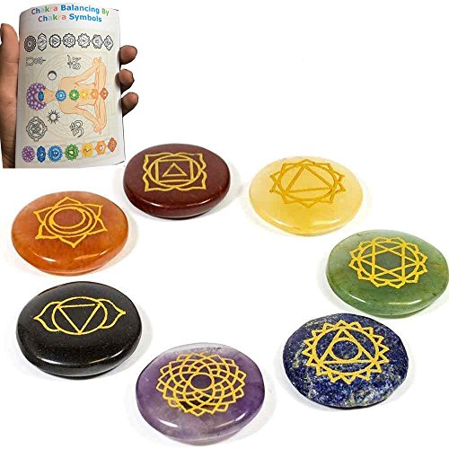 Free 20 Pages Chakra Booklet With Chakra Detail Reiki Chakra Stones w/ Chakra Symbol Embroidered Case Set of 7 Chakra Stones with Engraved Chakra Symbols by Vaibhav Jewels