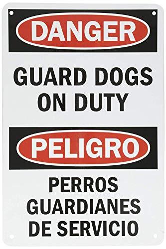 Flyss Aluminum Sign, Legend Danger: Guard Dogs on Duty, Bilingual Sign, 8