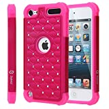 iPod Touch 5 / iPod Touch 6, Touch 5 / Touch 6 Case, Style4U Studded Rhinestone Crystal Bling Hybrid Armor Case Cover for Apple iPod Touch 5 / iPod Touch 6 with 1 Stylus [Hot Pink/Hot Pink]