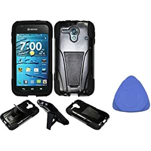 Kyocera Hydro EDGE C5215 Hybrid Case with Y Shape Stand Protector Cover - Black + Tool