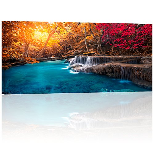 Visual Art Decor Large Piece Scenery Canvas Wall Art Colorful Autumn Forest Blue Lake Photography Canvas Prints Framed and Stretched Home Bedroom Living Room Wall Decoration(04 Autumn Forest)