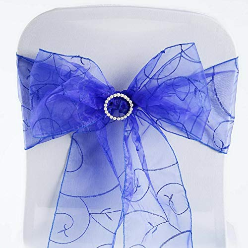 Mikash 50 New Embroidered on Sheer Organza Chair Sash Bows Ties Wedding Decorations | Model WDDNGDCRTN - 16513 | -