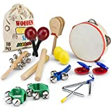 JaxoJoy Kids 10 PCS Musical Instruments & Percussion Toy Rhythm Band Set