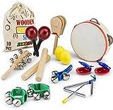JaxoJoy Kids 10 PCS Musical Toys kids Instruments & Percussion Toy Rhythm Band Set