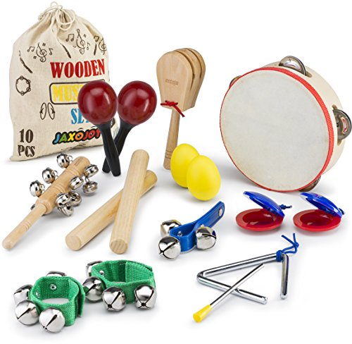JaxoJoy Kids 10 PCS Musical Toys kids Instruments & Percussion Toy Rhythm Band Set