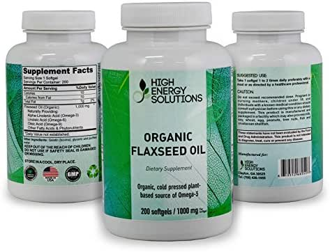 HIGH ENERGY SOLUTIONS - Organic Flaxseed - Value Sized 250 Softgels Potent 1000mg / Capsule - Cold Pressed Plant Based Source of Omega - 3's - Ultimate Bio-Availability & Absorption - GMP - USA