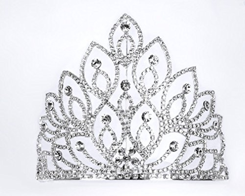 [Exquisite Rhinestones Wedding Bridal Pageant Queen Large Tiara Crown] (Crowns For Queens)