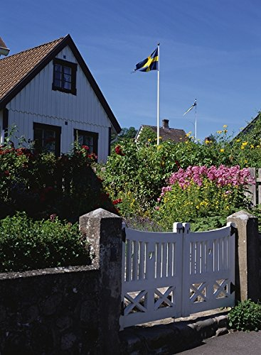 A house in Sweden with flag in top 30x40 photo reprint by PickYourImage