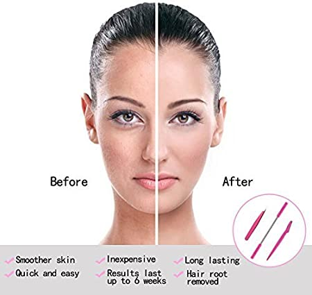 Depiladora Vello Facial, Kapmore 3en1 Depilación Facial + Pinzas de Cejas + Afeitarse, Removedor de Vello Facial Para las Mujeres