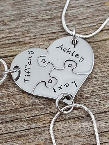 Best Friends Necklace set, 3 piece heart puzzle necklace set, Sorority sisters jewelry, Sister gifts, Hand stamped jewelry, Custom necklaces, Personalized - 3 Set Best Necklaces Friend Of