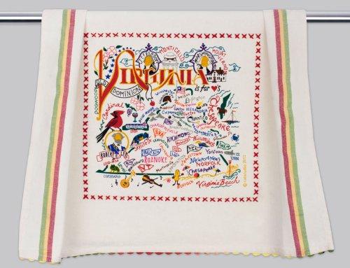 Catstudio | Virginia Dish Cloth, Tea Towel or Decorative Hand Towel | Geography Collection | 20