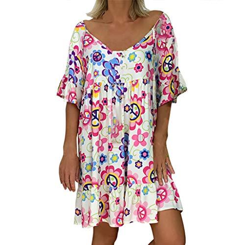 Mikilon Women's Short Sleeve Tunic Dress V Neck Ruffle Loose Mini Dress Swing Shift Dresses Pink ()