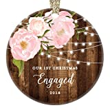 Engagement Gifts for Her, Our 1st Christmas We're Engaged First Christmas Ornament 2018 Couple Pink Peonies Rustic Xmas Farmhouse Collectible 3'' Flat Circle Porcelain w/Gold Ribbon & Free Gift Box