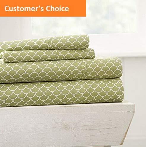 Mikash New Soft 3 Piece Sheet Set Scallops Patterned, Twin, Sage | Style 84599915