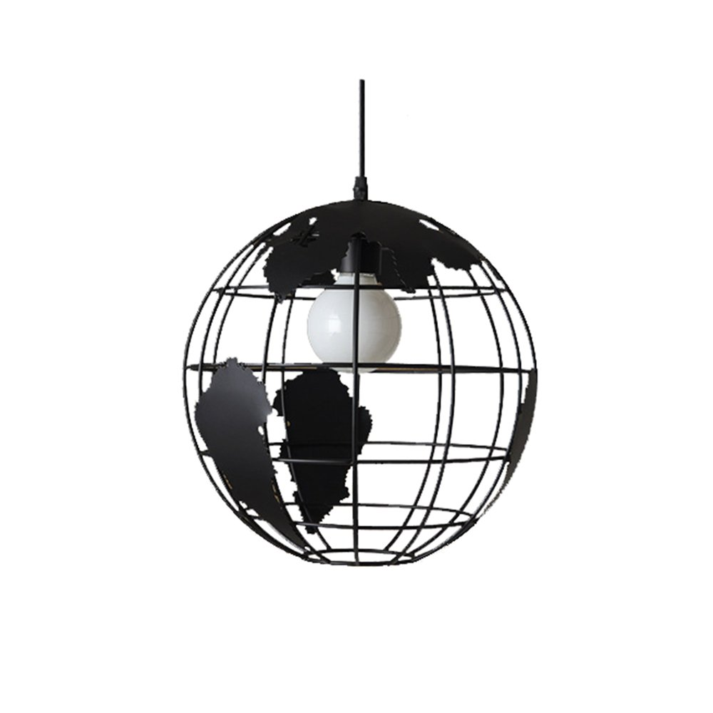 wings of wind - Moderne Weltkarte Leuchter E27 Pendelleuchte Deckenleuchte Bunte Glas Lampshade (Schwarz)