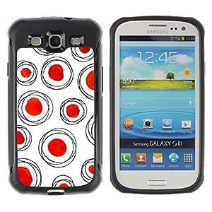 Híbridos estuche rígido plástico de protección con soporte para el SAMSUNG GALAXY S3 - dot red polka white clean