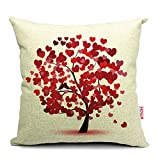 Decorative Pillow Cover - HOSL® Blend Linen Decorative Couple Throw Pillow Cover Cushion Case Couple Pillow Case Life Tree Red for Auto Seat