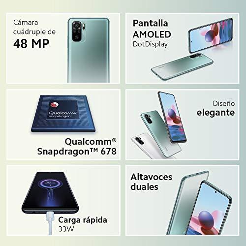 "Xiaomi Redmi Note 10 - Smartphone 4+128GB, 6,43"" pantalla AMOLED DotDisplay, Snapdragon 678, Cámara cuádruple de 48 MP…"