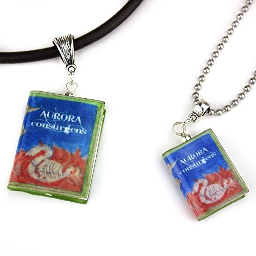 [AURORA CONSURGENS Polymer Clay Mini Book Pendant Necklace Unisex by Book Beads] (Cute Female Nerd Costumes)