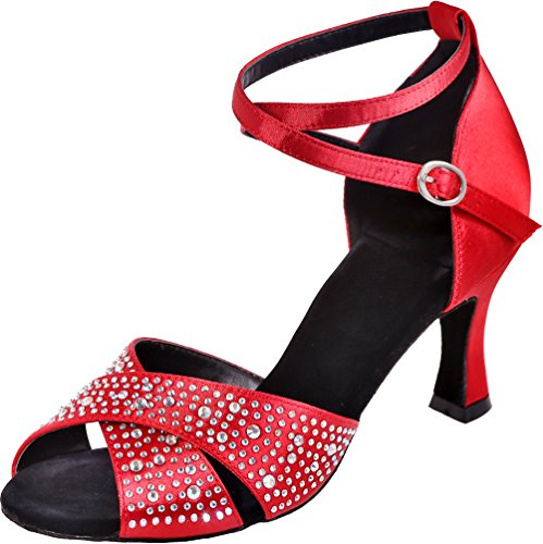 Soft Rhinestone Satin Toe Find Shoes Professional Straps Sole Nice Womens Red Peep Sudue Dance 3IN Ankle xYXaq