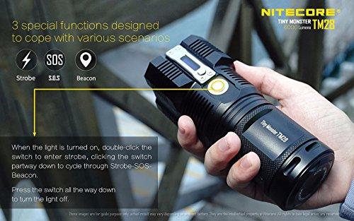 NITECORE TM28 4CREE XHP35 HI max.6000LM beam distance 655meter LED outdoor flashlight + 4pcs 18650 3100mAh li-ion batteries by Nitecore (Image #6)