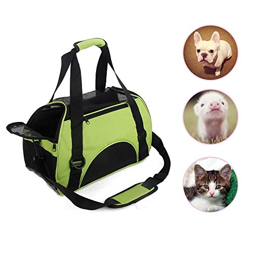 LMM Premium Durable Pet Carriers and Crates for Rat Puppy Cat Bird Small Animals, Car Seat Pet Carrier Travel Bags with Extra Pad for Small Dogs Pet Carriers Tote Bag Green (Green)