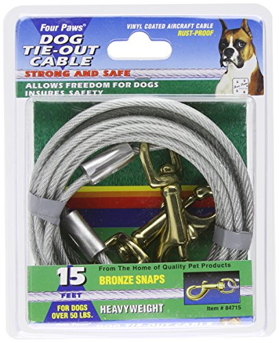 Tie Heavy 15' Out (Four Paws Tie-Out Cable for Large Dogs, 15 ft)