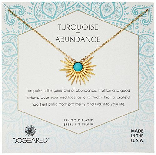 Dogeared Women's Gold Sun Ray Turquoise Chain Necklace