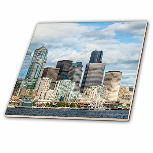 3dRose Danita Delimont - Cities - USA, Washington State, Seattle. Skyline from Elliott Bay. - 6 Inch Ceramic Tile (ct_279729_2)