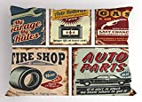 Lunarable 1950s Pillow Sham, Vintage Car Signs Automobile Advertising Repair Vehicle Garage Classics Servicing, Decorative Standard Size Printed Pillowcase, 26 X 20 Inches, Multicolor
