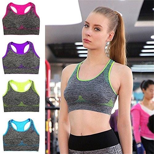 Ming Soutiens-gorge de sport Brassière sans armature Amovible Maintien la poitrine Unis Exercices Fitness Yoga Femme