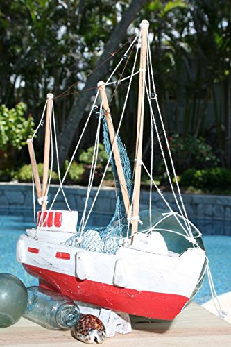 TikiMaster FISHING BOAT RED COASTAL 20'' - HAND CARVED - COASTAL DECOR by TikiMaster