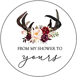 from My Shower to Yours Stickers, Antlers, Blush and Burgundy Flowers, Bridal Shower Favor Stickers, Baby Shower Favor Stickers, Bridal Shower Favor Stickers, Rustic Shower Stickers
