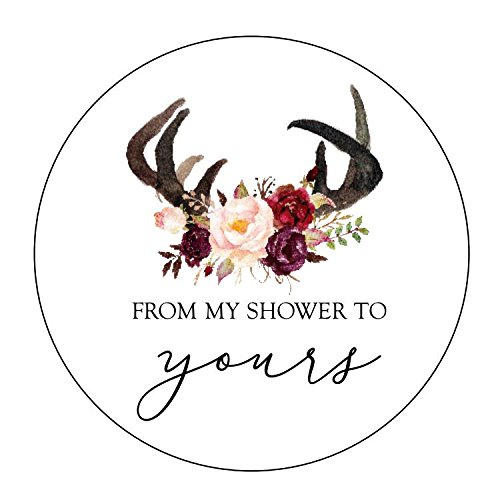 (from My Shower to Yours Stickers, Antlers, Blush and Burgundy Flowers, Bridal Shower Favor Stickers, Baby Shower Favor Stickers, Bridal Shower Favor Stickers, Rustic Shower)