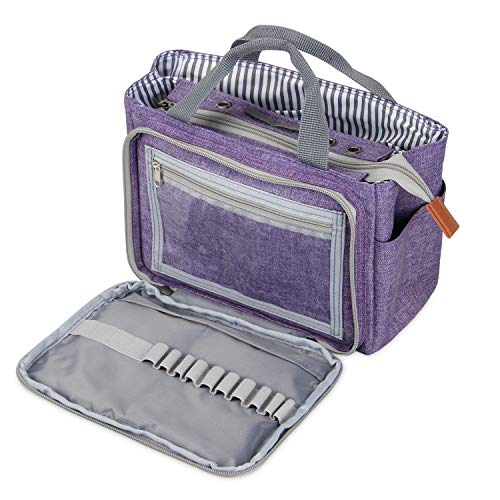 Luxja Small Crochet Tote Bag Yarn Storage Bag for Small Unfinished Projects Crochet Hooks and Other Accessories Purple