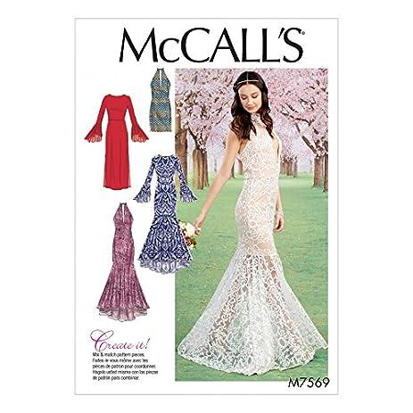 McCalls Ladies Sewing Pattern 7569 Column Mermaid Style Dresses
