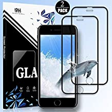 iPhone 8 Plus/7 Plus/6SP/6P Screen Protector by EESHELL,[2 Pack] 9H Hardness Premium Full Coverage Tempered Glass,Case Friendly,HD Clarity,Anti-Bubble Film Compatible with iPhone 8P/7P/6SP/6P-Black