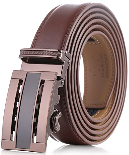 Mens Leather Buckle Dress Belt (Marino Men's Genuine Leather Ratchet Dress Belt with Automatic Buckle, Enclosed in an Elegant Gift Box - Brown - Style 73 - Custom: Up to 44