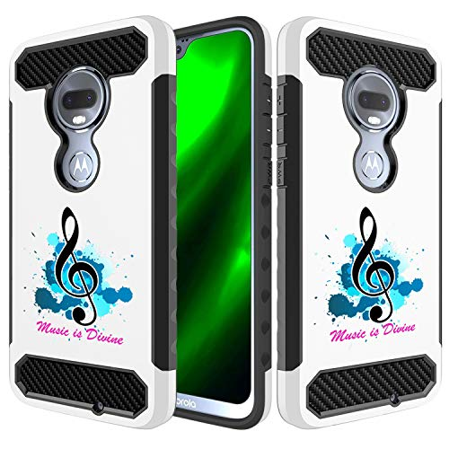 Embossed Cd Case - [Inkmodo] Moto G7 Case - Unique Dual Layer Full Protection Shockproof Case (Plastic + TPU) - Music is Divine Design Printed with Embossed Effect