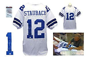 Roger Staubach Signed Custom Jersey - JSA Witnessed - Autographed w/ Photo
