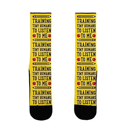 LookHUMAN Training Tiny Humans To Listen To Me US Size 7-13 Socks ()