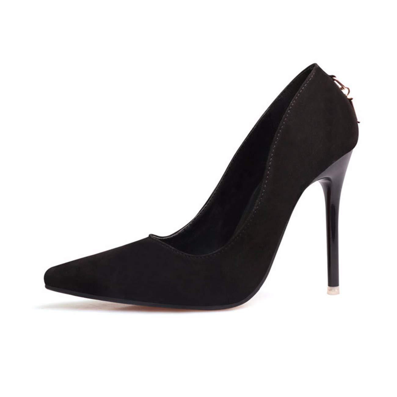 QPGGP-schuhe Euro - amerikanische Mode einfach hochhackigen Wildleder Flache Spitze sexy Frauen einzelne Schuhe