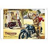 Tin Sign Motorcycle Bike Poster Metal Plate Wall Decor by Jake Box 20*30cm of Triumph TRI550 TRI650 Gas Station